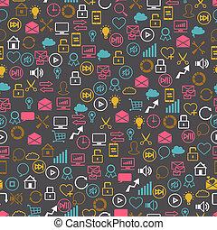 sieć, internet, seamless, icons., towarzyski, seo, pettern