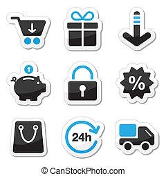 sieć, /, internetowe ikony, komplet, -, zakupy