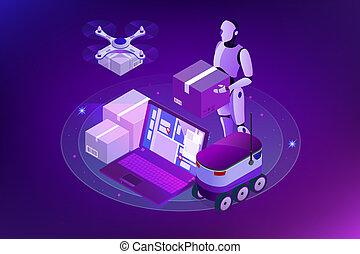 sieć, isometric, pojęcie, city., concept., innowacja, robot, mocny, truteń, doręczenie, towary, wysyłka, techniczny, autonomiczny, logistics.