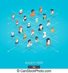 sieć, isometric, pojęcie, sieć, icons., społeczeństwo, cyfrowy, zintegrowany, 3d