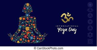 sieć, kobieta, yoga, lotosowa poza, chorągiew, dzień