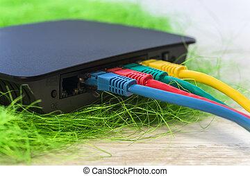sieć, kolor, rj45, witka, różny, swit, związany, liny