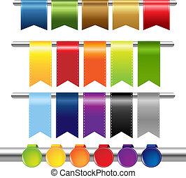 sieć, kolor, wstążki