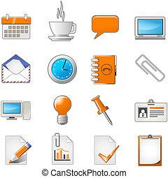 sieć, komplet, biuro, strona, temat, albo, ikona