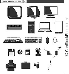 sieć, komplet, hydromonitor komputera, icons., wektor, retro