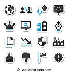sieć, komplet, ikony, -, wektor, internet