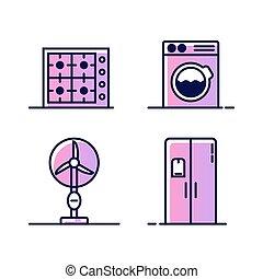 sieć, komplet, myć, elektryczny, ikony, maszyna, piec, gaz, odizolowany, albo, pikolak, tło., miłośnik, appliances., dom, biały, freezer., chłodnia