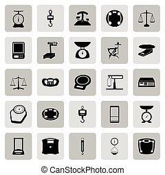 sieć, komplet, obarczanie, skalpy, ciężar, -, waga, ikona