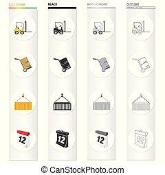 sieć, komplet, przewóz, ikony, collection., style.date, wyposażenie, czas, inny, poczta, rysunek, przewóz, ikona