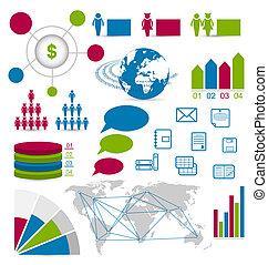 sieć, komplet, układ, szczegół, umiejscawiać, infographic, zaprojektujcie elementy