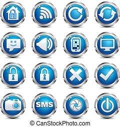 sieć, komplet, &, -, umiejscawiać, dwa, internetowa ikona