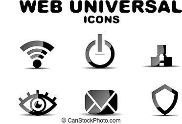 sieć, komplet, uniwersalny, czarnoskóry, połyskujący, ikona