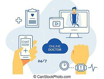 sieć, korzystać, pomoc, służba, ikony, doktor, konsultacja, karta, wektor, chorągwie, avatar, online medycyna, concept.ready, teraz, komplet