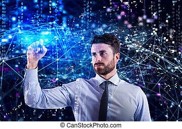 sieć, laptop, zastosowanie, programista, fabryka, człowiek
