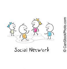 sieć, ludzie., współposiadanie, ilustracja, towarzyski,...