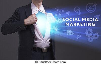 sieć, media, concept., internet, młody, handlowy, towarzyski, biznesmen, technologia, widać, handel, word: