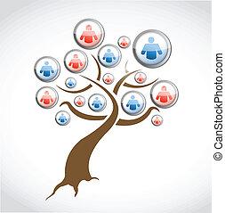 sieć, media, drzewo, ilustracja, projektować, towarzyski