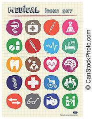sieć, medyczny, komplet, ikony