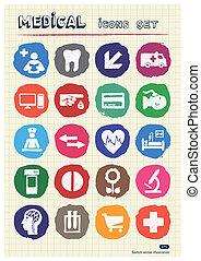 sieć, medyczny, komplet, ludzki, ikony