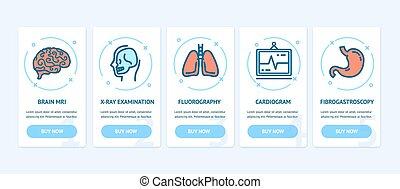 sieć, medyczny, parawany, wektor, diagnostyka, bilety, chorągwie, app, set.