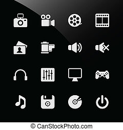 sieć, multimedia, ikony
