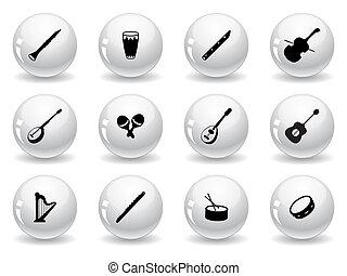 sieć, muzyczny instrument, pikolak, ikony