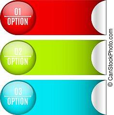 sieć, nowoczesny, twój, projects., handlowy, handel, etykiety, trzy, style., realistyczny, infographics., wektor, selection., design., majchry, opcje, illustration.