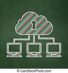 sieć, ochrona, concept:, tło, chmura, chalkboard