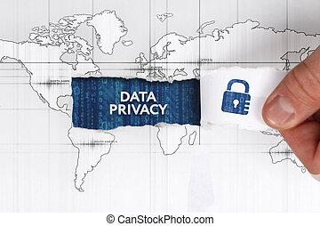 sieć, odosobnienie, concept., młody, handlowy, internet, biznesmen, technologia, widać, dane, word: