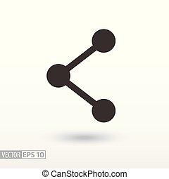 sieć, płaski, icon., znak, towarzyski, sieć