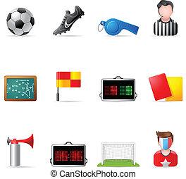 sieć, piłka nożna, -, ikony