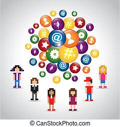 sieć, pixel, ikony