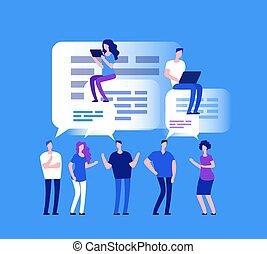 sieć, pojęcie, forum, handlowy zaludniają, concept., comments, chat., wektor, drużyna, rewizja
