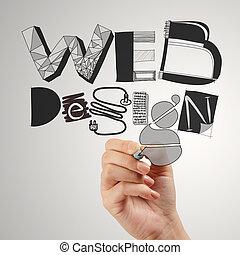 sieć, pojęcie, handlowy, ręka, diagram, projektować, rysunek, człowiek