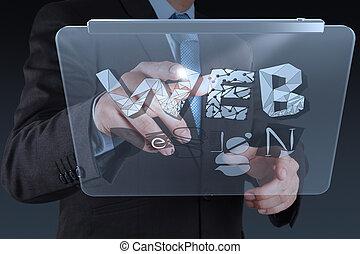 sieć, pojęcie, słowo, pracujący, tabliczka, pokaz, ręka, komputer, projektować, biznesmen