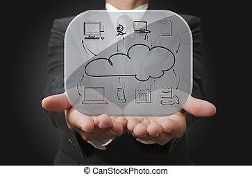 sieć, pokaz, szkło, deska, biznesmen, chmura