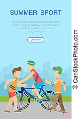 sieć, poster., chodzenie, sport, chorągiew, dzieci