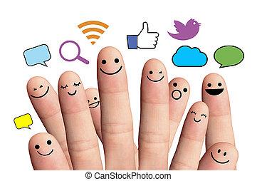 sieć, poznaczcie., odizolowany, smileys, palec, towarzyski, ...