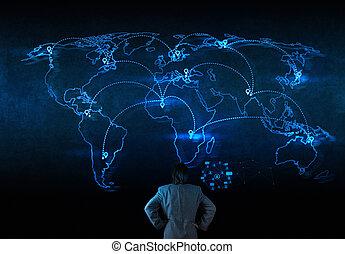 sieć, pracujący, pokaz, nowoczesny, komputer, biznesmen, nowy, budowa, towarzyski