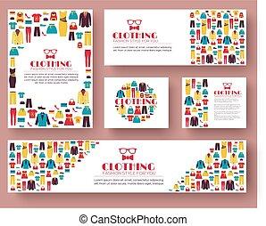 sieć, produkt, fason, twój, ikony, ruchomy, concept., projektować, zastosowania, projektować, szablon, infographics, odzież, albo