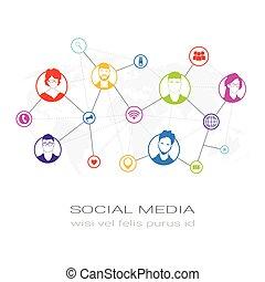 sieć, profil, sylwetka, ludzie, komunikacja, użytkownicy, barwny, ikony, media, pojęcie, połączenie, towarzyski