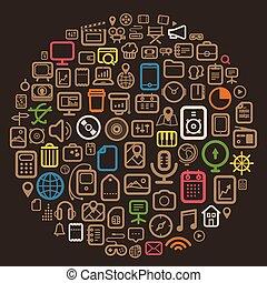 sieć, różny, ikony, kolor, abstrakcyjny, mowa, chmura
