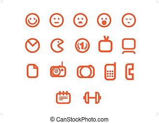 sieć, różny, komplet, ikony