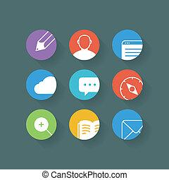 sieć, różny, komplet, zaokrąglony, ikony, corners., ele, projektować, browser