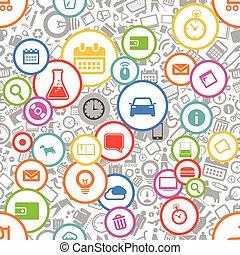 sieć, różny, seamless, tło, ikony