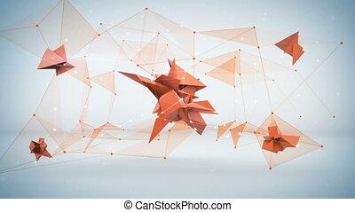 sieć, render, abstrakcyjny, forma., ożywienie, futurystyczny, pętla, 3d