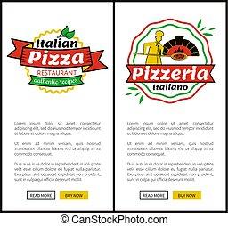 sieć, restauracja, ilustracja, wektor, pizza, włoski