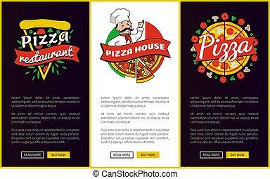 sieć, restauracja, ilustracja, wektor, urządzenia wzywające do telefonu, pizza