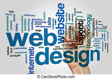 sieć, słowo, projektować, chmura