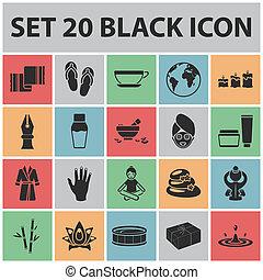 sieć, salon, komplet, illustration., ikony, symbol, zbiór, bitmapa, wyposażenie, czarnoskóry, odpoczynek, złagodzenie, zdrój, design., pień